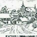 Kostelní Bříza. Kresba Karl Winter, 23. 12. 1945