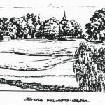 Kostel ze severozápadu. Kresba Karl Winter, 17. 6. 1945