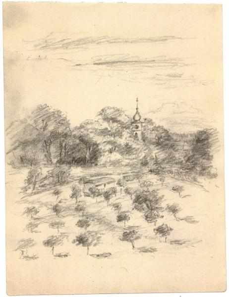 Pole a kostel sv. Petra a Pavla. Autor: Marie Schubertová, 1961