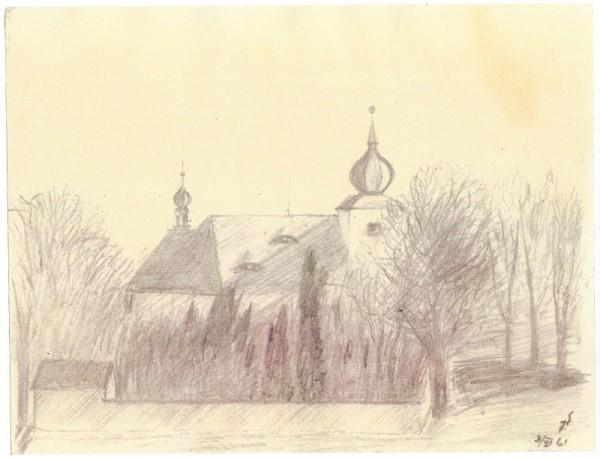 Hřbitov a kostel sv. Petra a Pavla. Autor: Marie Schubertová, 1961